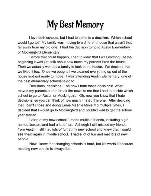 My 6th Grade Storys