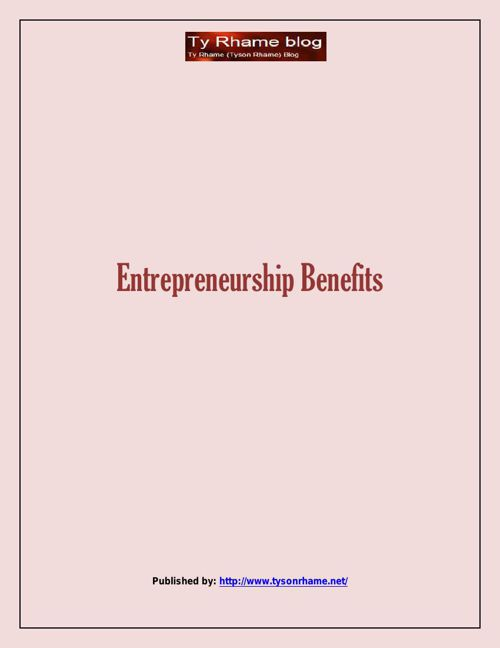 Entrepreneurship Benefits