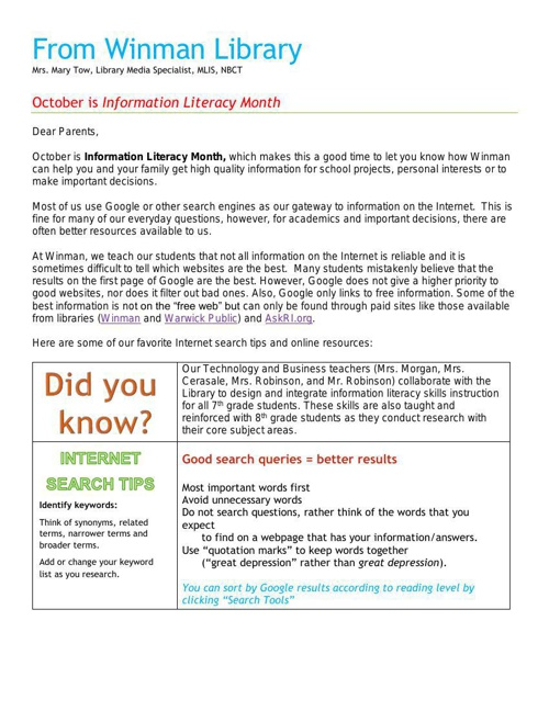 October: Information Literacy Month