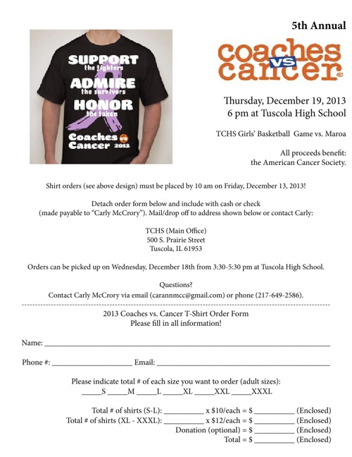 Coaches vs. Cancer T-shirt Order Form (December 2013)