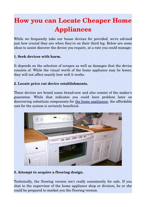 How you can Locate Cheaper Home Appliances