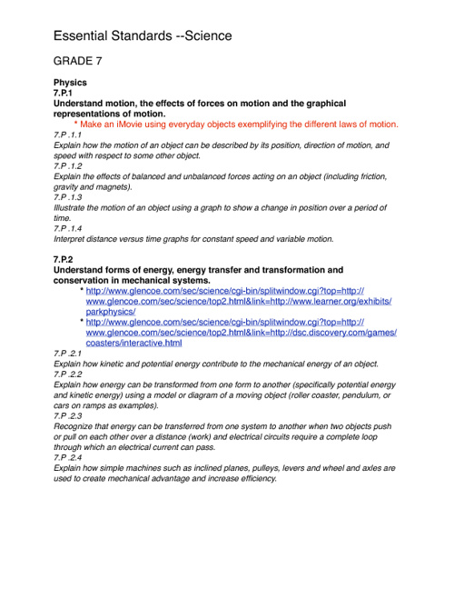 7th Grade Science Essential Standards