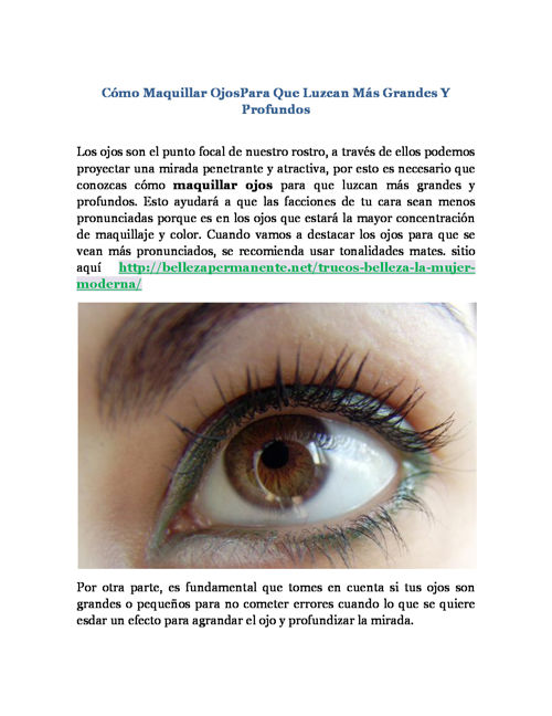 Cómo Maquillar OjosPara Que Luzcan Más Grandes Y Profundos
