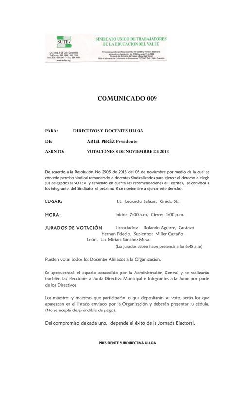 COMUNICADO 9 ELECCIONES 8 DE NOVIEMBRE DE 2013 , DELEGADOS XIV J