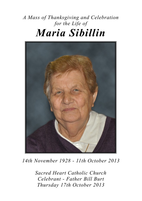 Maria Sibillin mass booklet