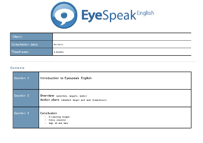 Eyespeak E-Learning Plan