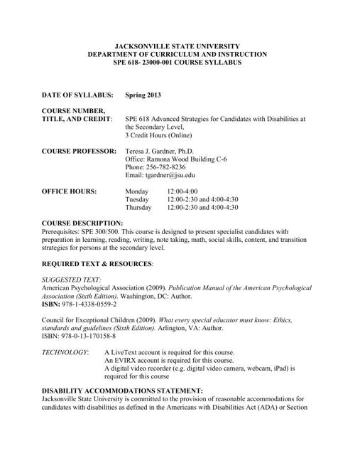 SPE 618 Syllabus Spring 2013