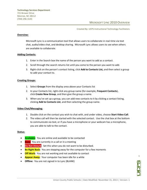 Microsoft Lync 2010 Overview
