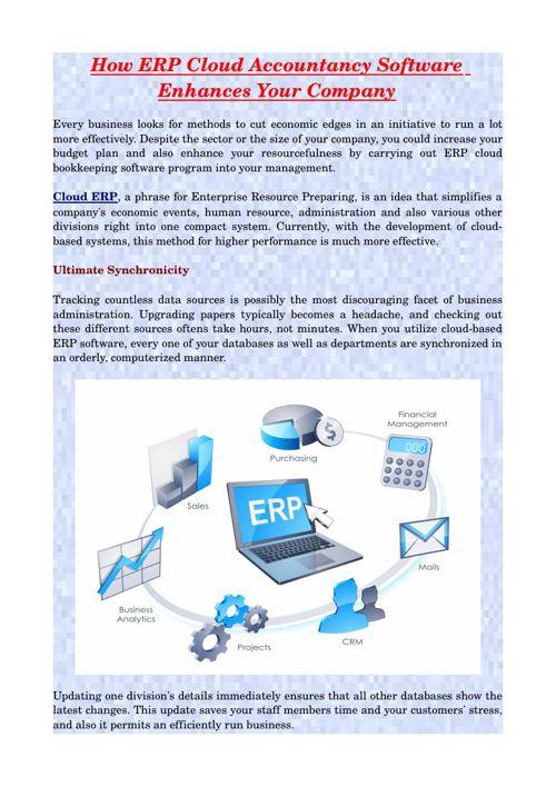 How ERP Cloud Accountancy Software Enhances Your Company