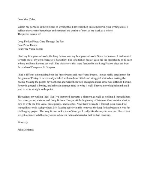 Reflection Letter for Mrs. Zuba