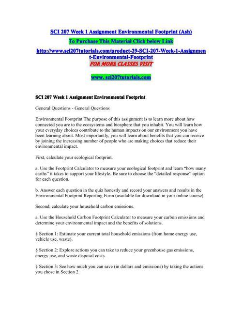 SCI 207 Week 1 Assignment Environmental Footprint (Ash)