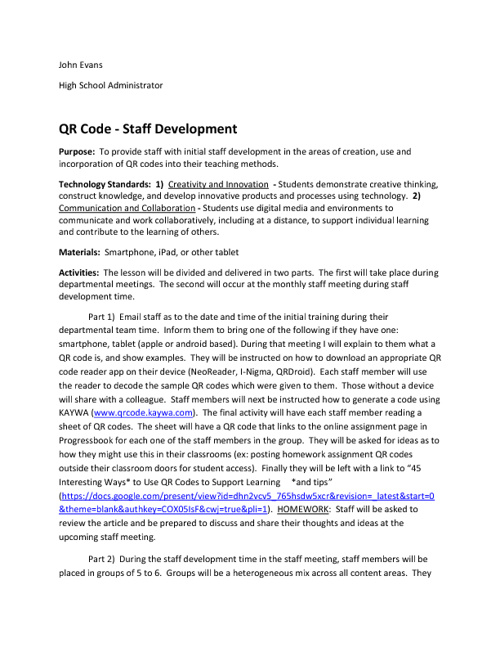 QR Code Staff Development
