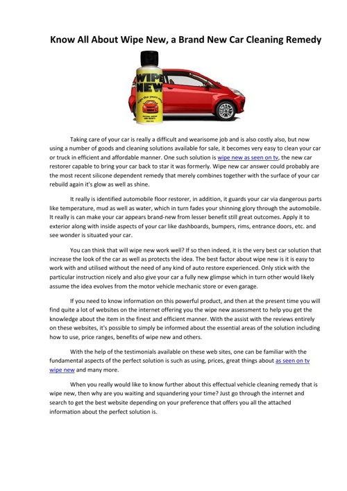 Know All About Wipe New, a Brand New Car Cleaning Remedy