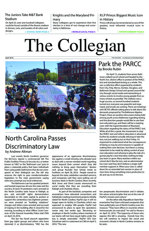 The Collegian: April 2016