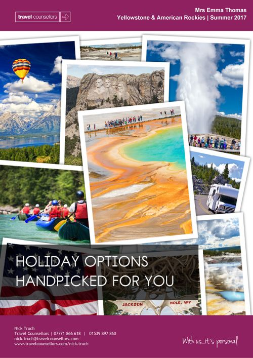 Holiday Options Brochure - Yellowstone & American Rockies - Mrs