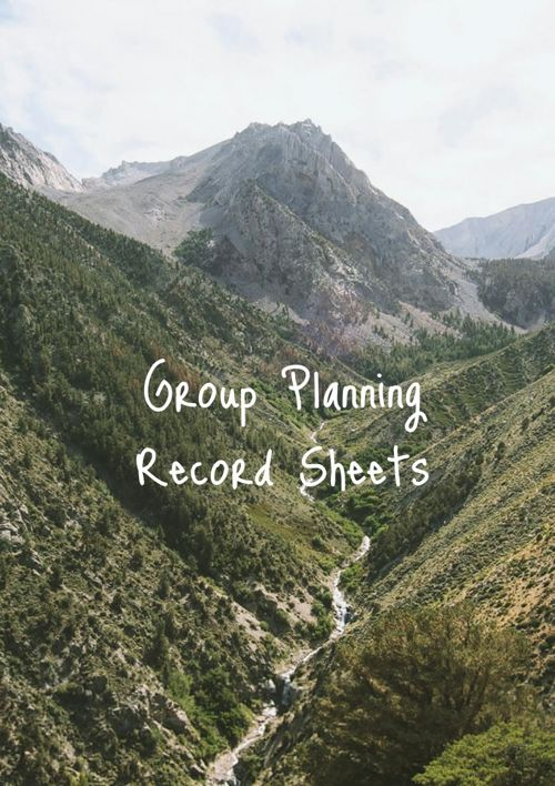 Group Planning Record Sheets