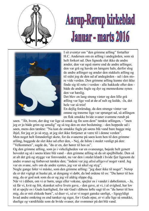 Kirkeblad januar-marts Aarup-Rørup 2016