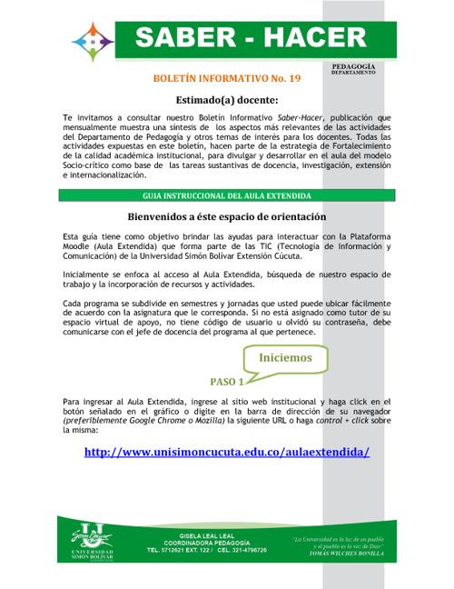 Boletín 19 Pedagogía Docentes