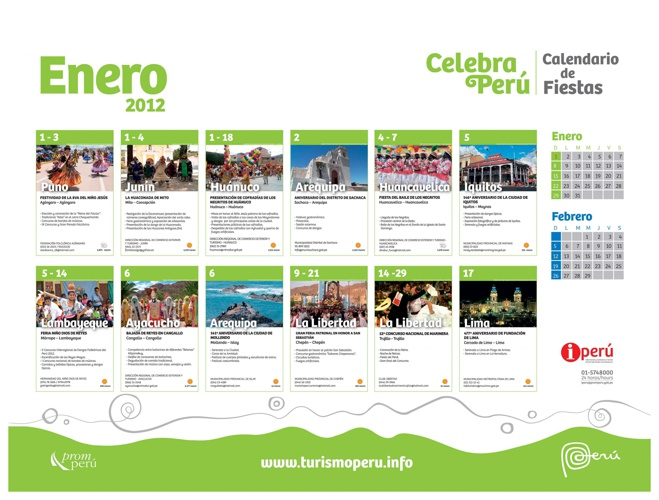 Calendario de Fiestas Enero 2012