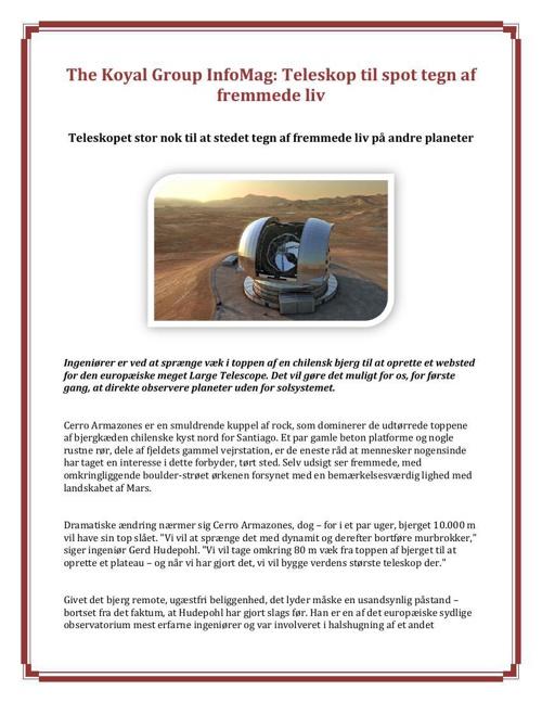 The Koyal Group InfoMag Teleskop til spot tegn af fremmede liv