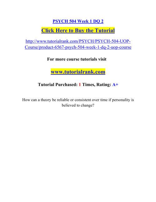 PSYCH 504 Course Career Path Begins / tutorialrank.com