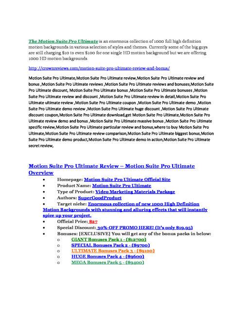 Motion Suite Pro Ultimate Review - SECRET of Motion Suite Pro Ul