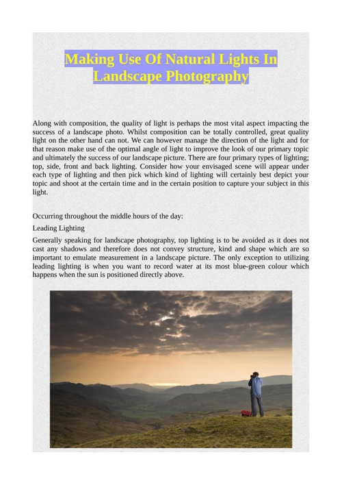 Making Use Of Natural Lights In Landscape Photography