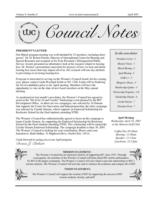 Women's Council of RIT Newsletters