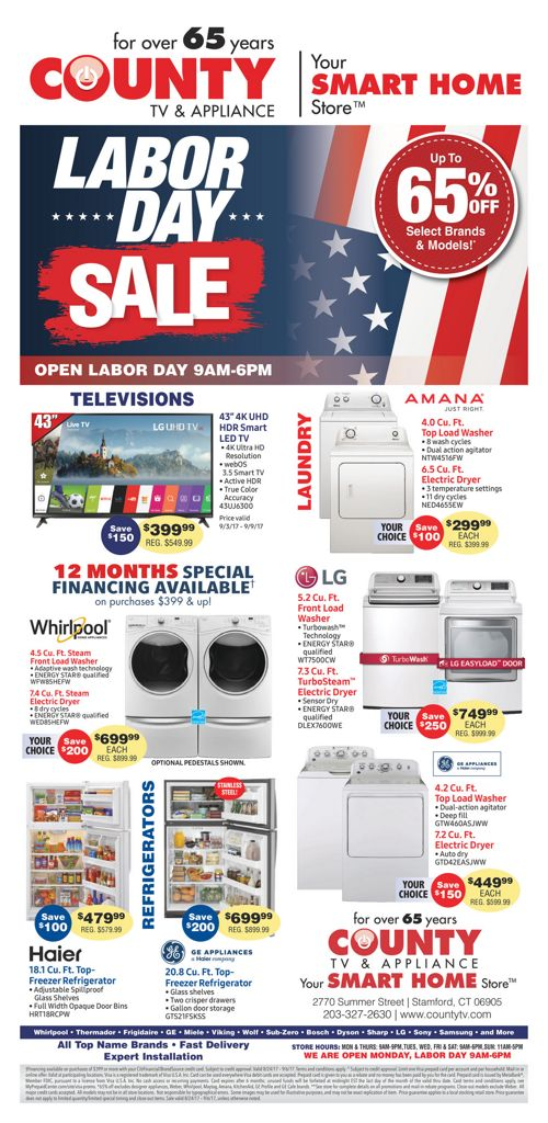 County TV and Appliance Labor Day Sale!