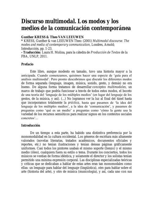 LECTURA Nro. 2 - Discurso multimodal-Los modos y los medios de l