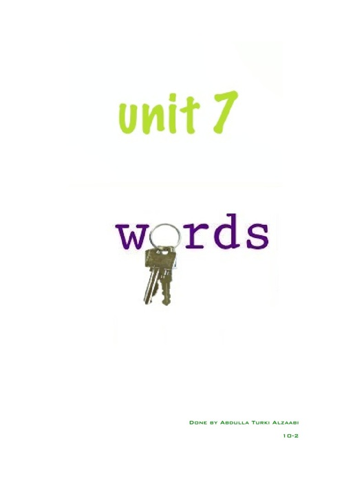 unit 7 keywords