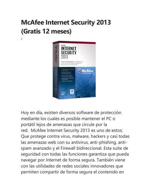 McAfee Internet Security 2013 (Gratis 12 meses)