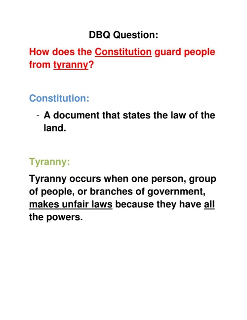 How did the Constitution guard against Tyranny?
