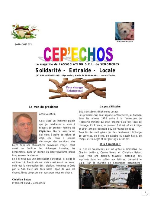 CEP ECHO n°1 Juillet 2013