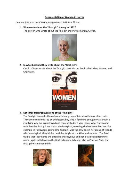 Representation of Women in Horror