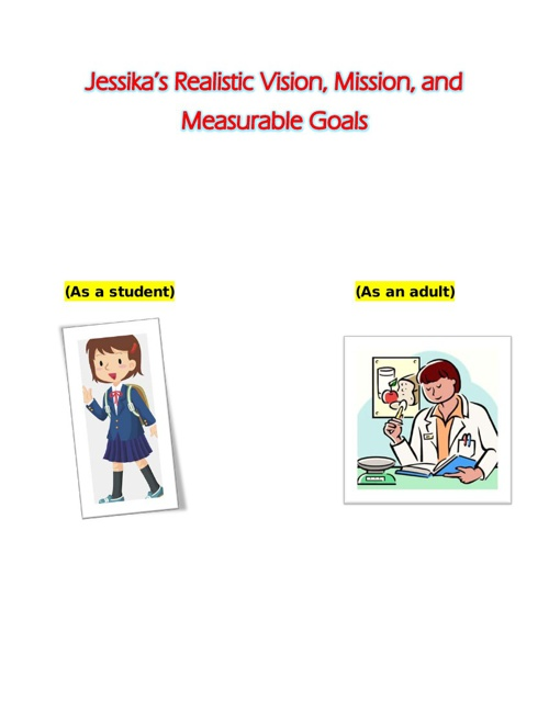 Jessika's Realistic Vision,Mission,and Measurable Goals