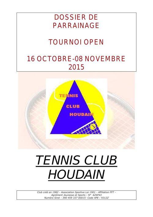 Dossier Tournoi TENNIS CLUB HOUDAIN 2015