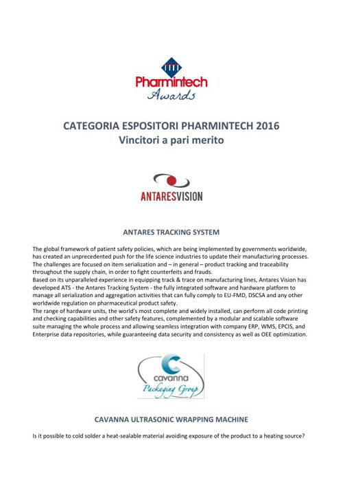 Antares Tracking System is Pharmintech 2016 Awards Winner for In