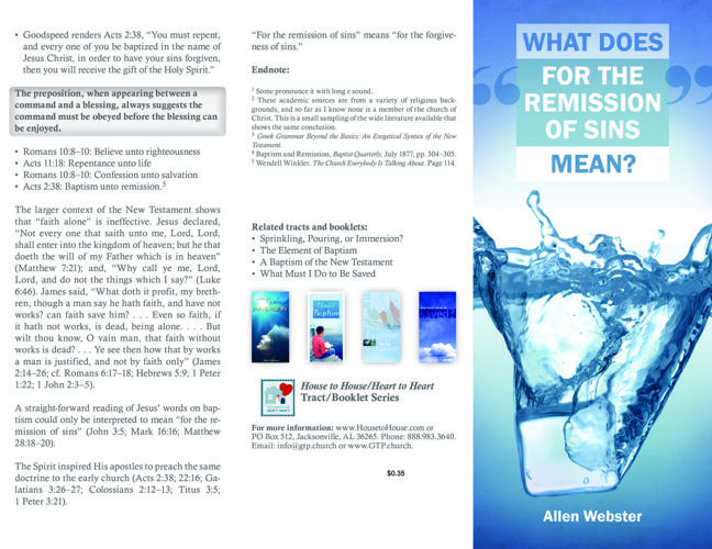 Tract-0333 What Does For the Remission of Sins Mean