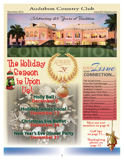 December 2012 Audubon Country Club Newsletter w/ Event Flyers