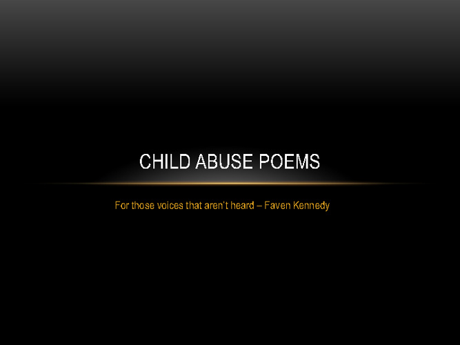 Child Abuse Poems