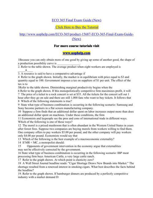 eco365 final exam study guide