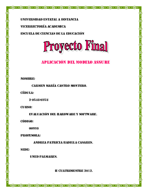 Proyecto Final Modelo ASSURE