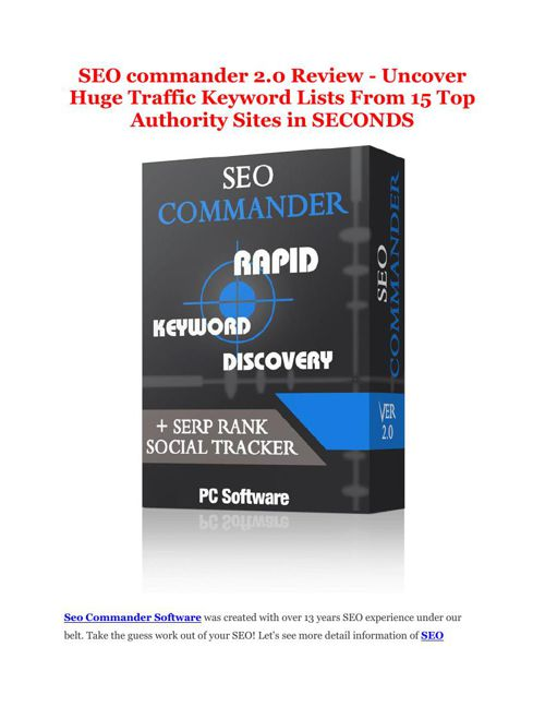 PRO review of SEO Commander 2 and Special $10,000 Bonus pack