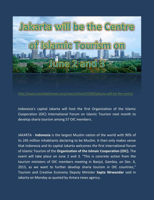Jakarta will be the Centre of Islamic Tourism on June 2 and 3