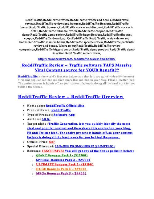 ReddiTraffic review - I was shocked!