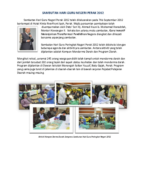 Laporan Sambutan Hari Guru Peringkat Negeri Perak 2012