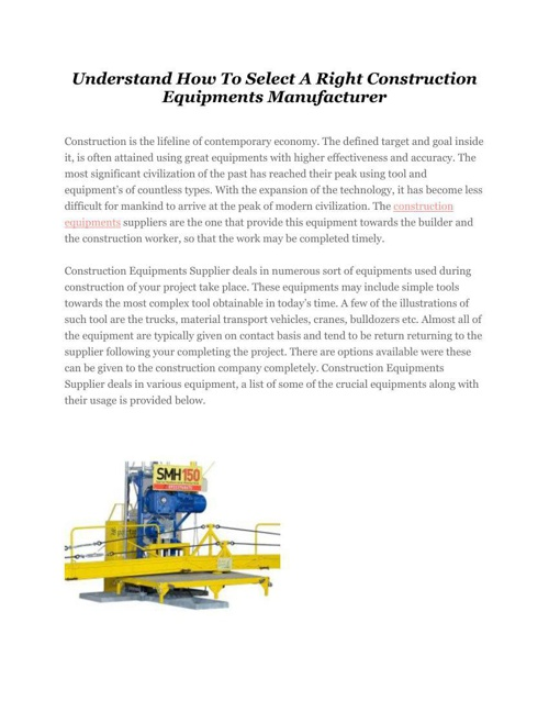 Understand How To Select A Right Construction Equipments
