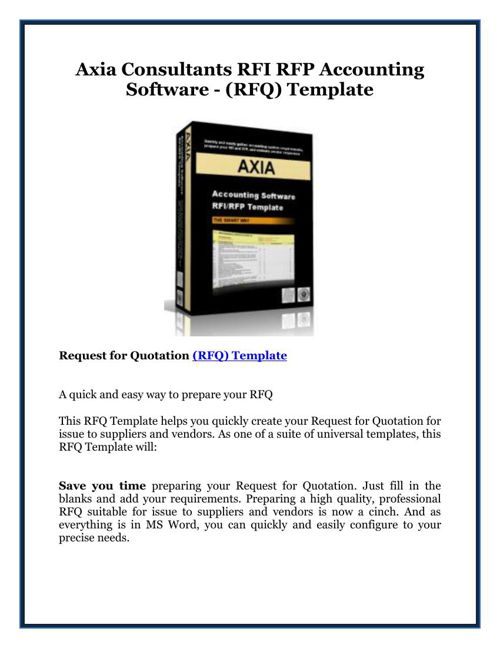 Axia Consultants RFI RFP Accounting Software - (RFQ) Template
