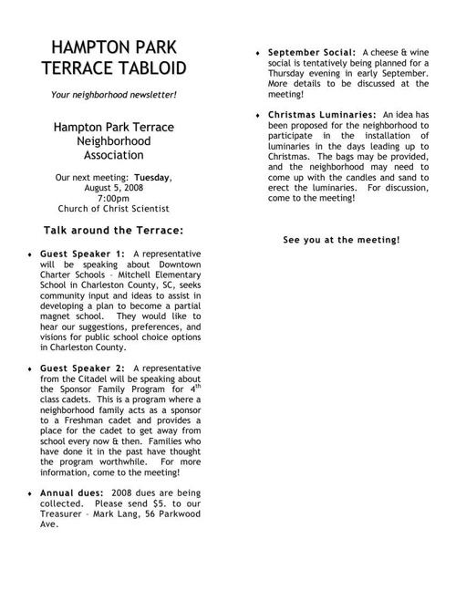 HPT Newsletter August 2008